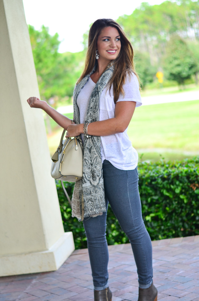 White Tee and Scarf-10