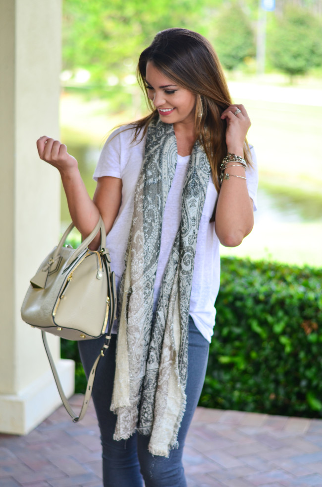 White Tee and Scarf-7