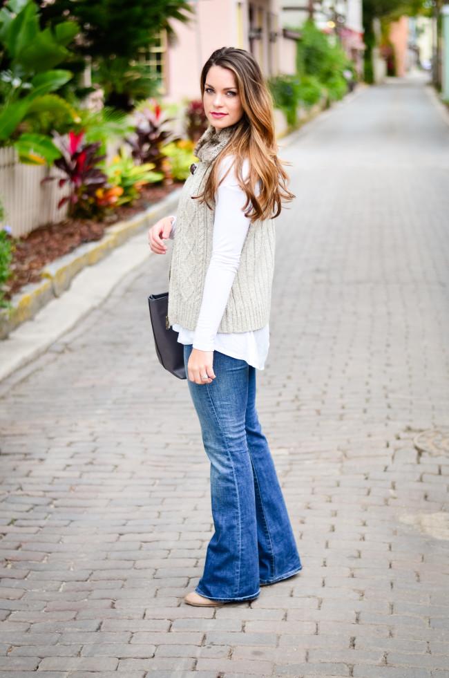 Furry Vest and Flare Jeans-3
