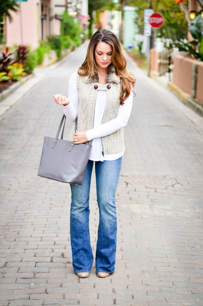 Furry Vest and Flare Jeans-6
