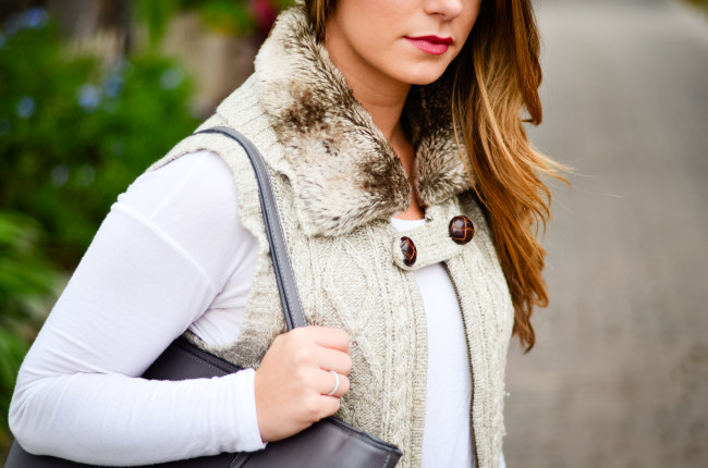 Furry Vest and Flare Jeans-9