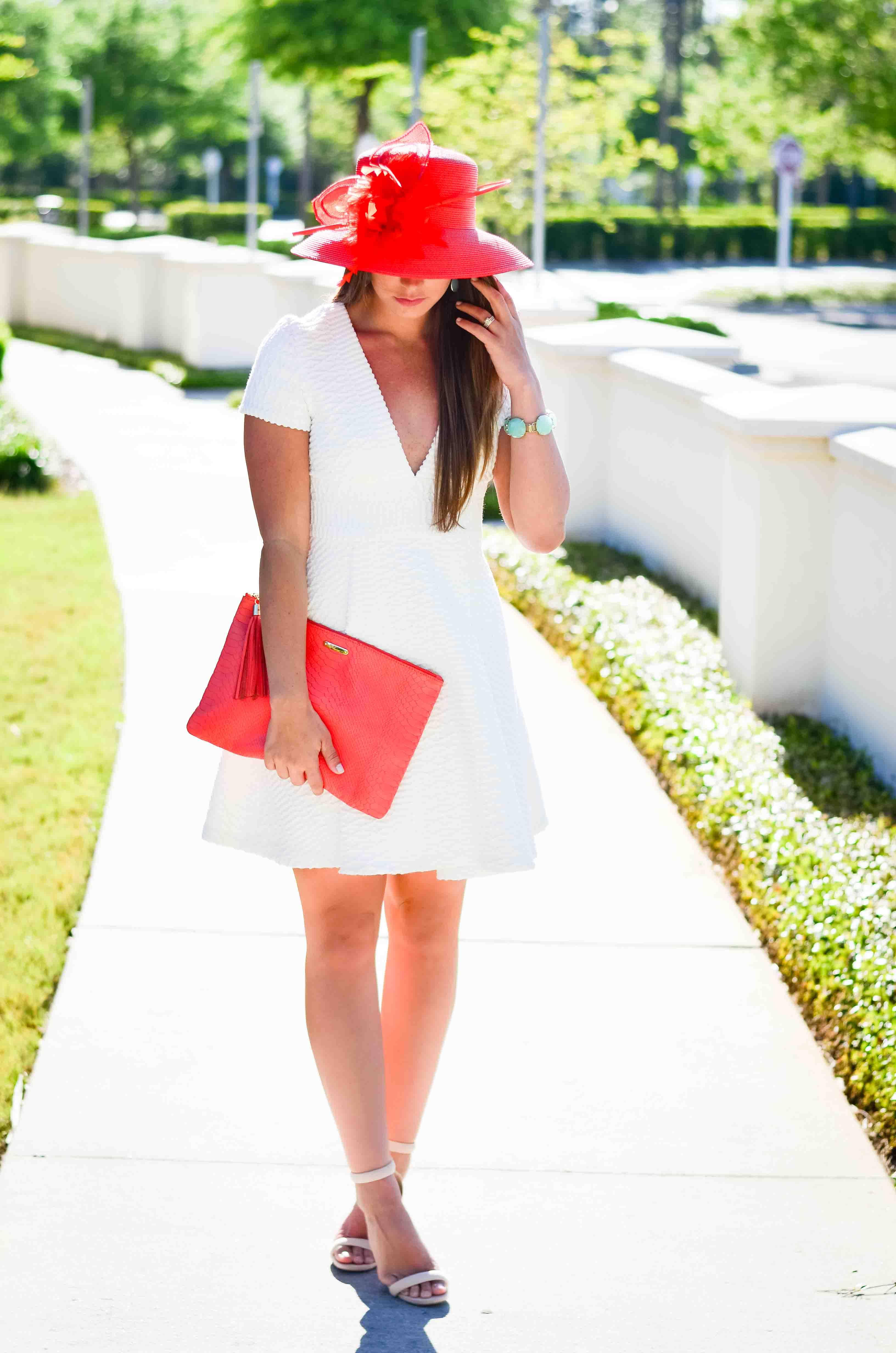 Derby Days- White Dress Coral Hat-19