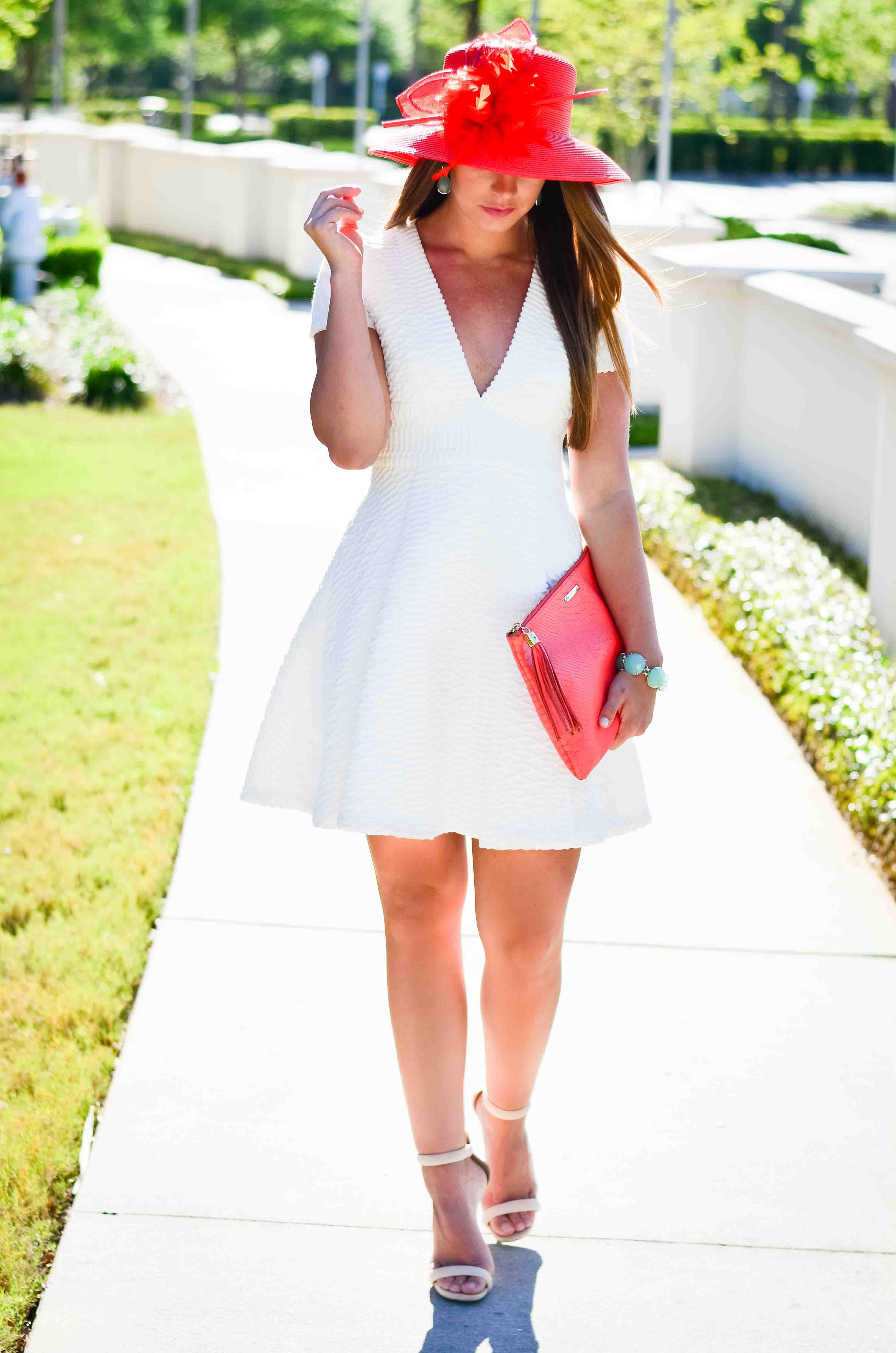 Derby Days- White Dress Coral Hat-21