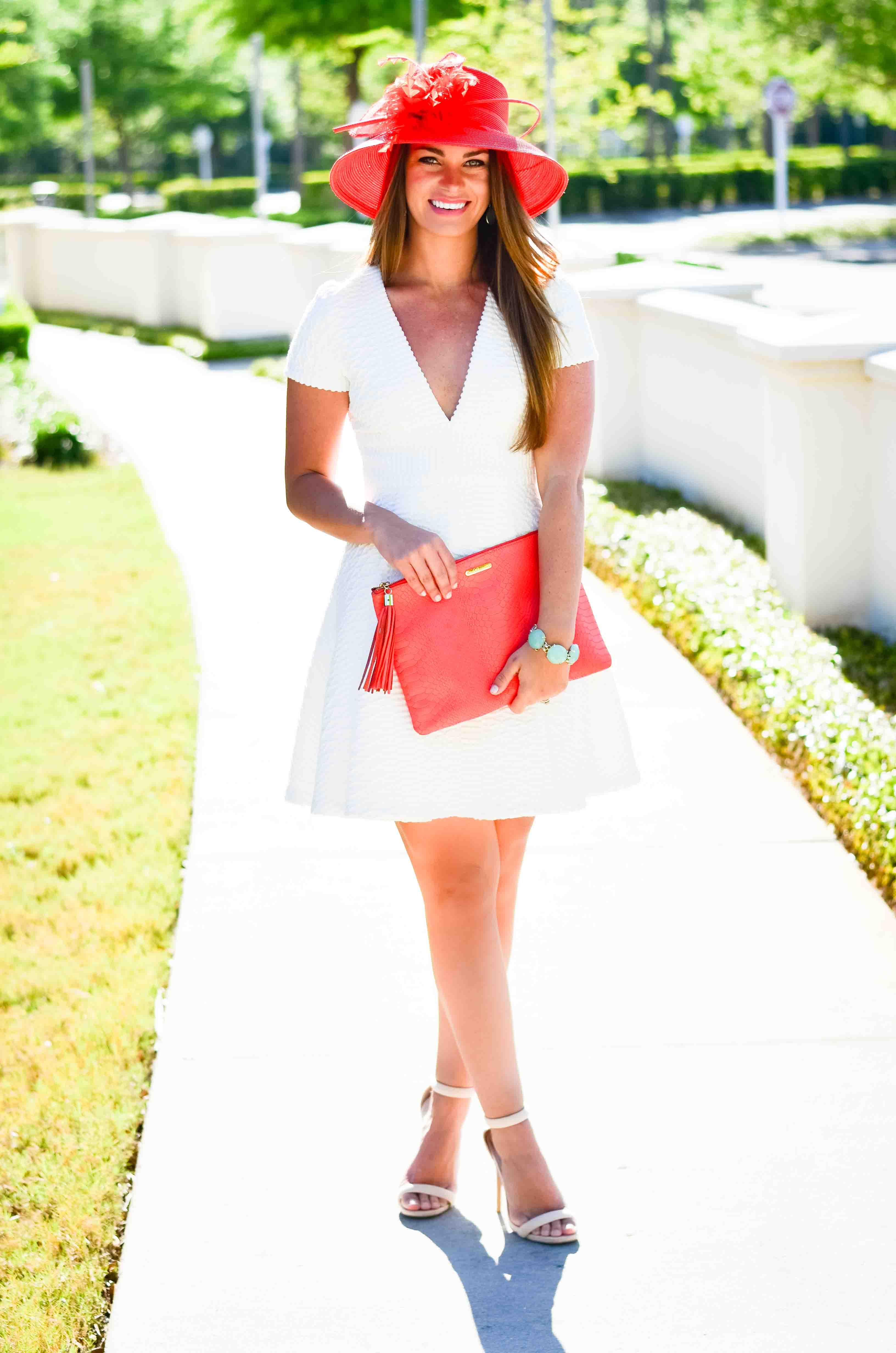 Derby Days- White Dress Coral Hat-23