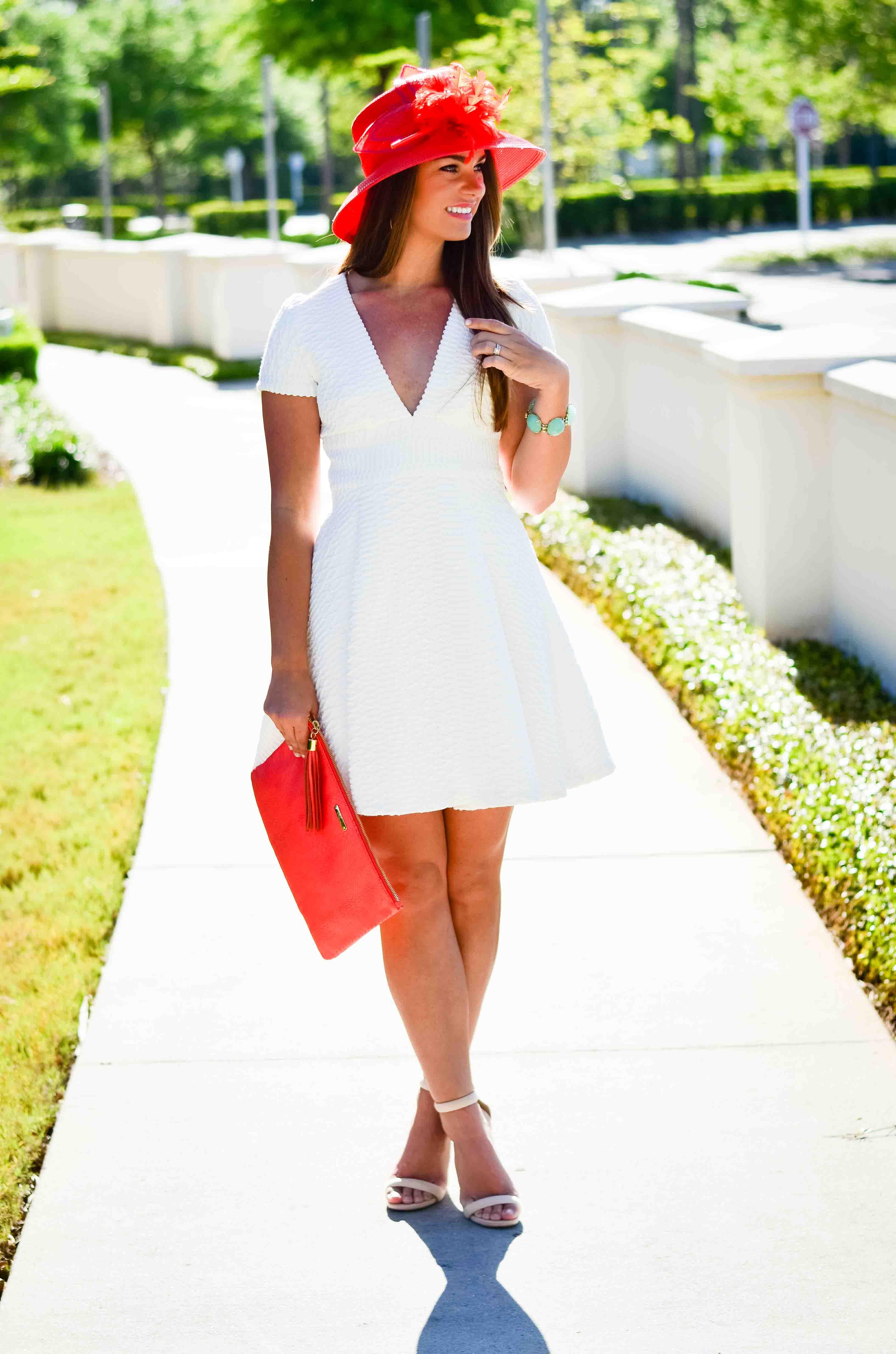 Derby Days- White Dress Coral Hat-24