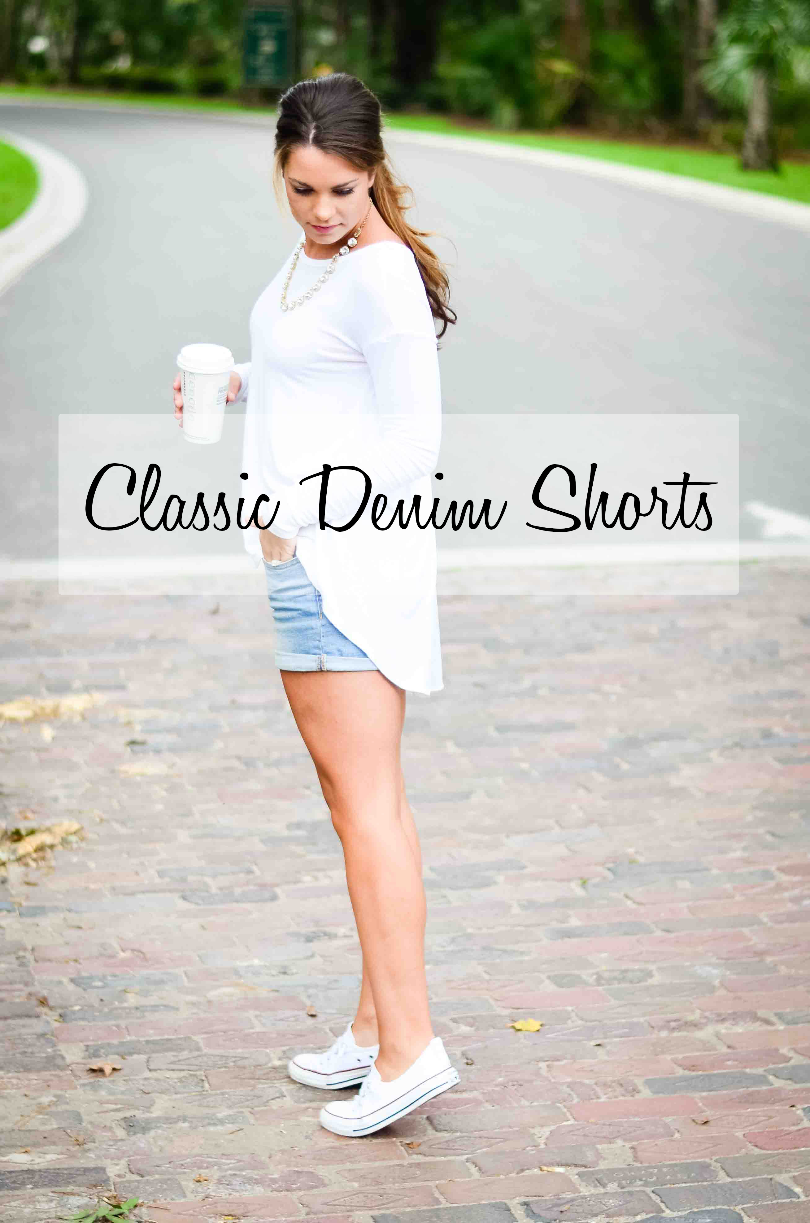 white shirt Jean shorts converse