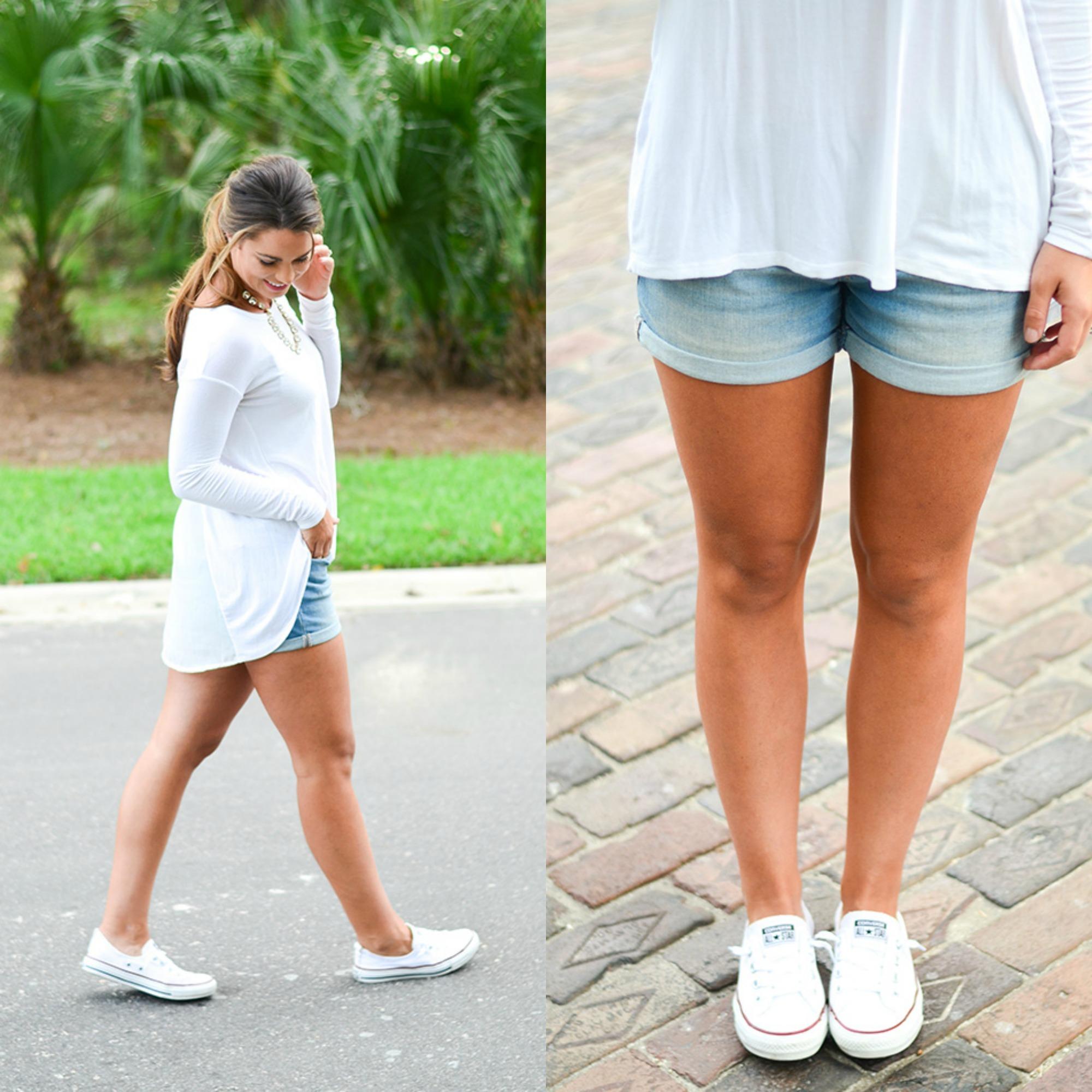 white shirt jean shorts collage
