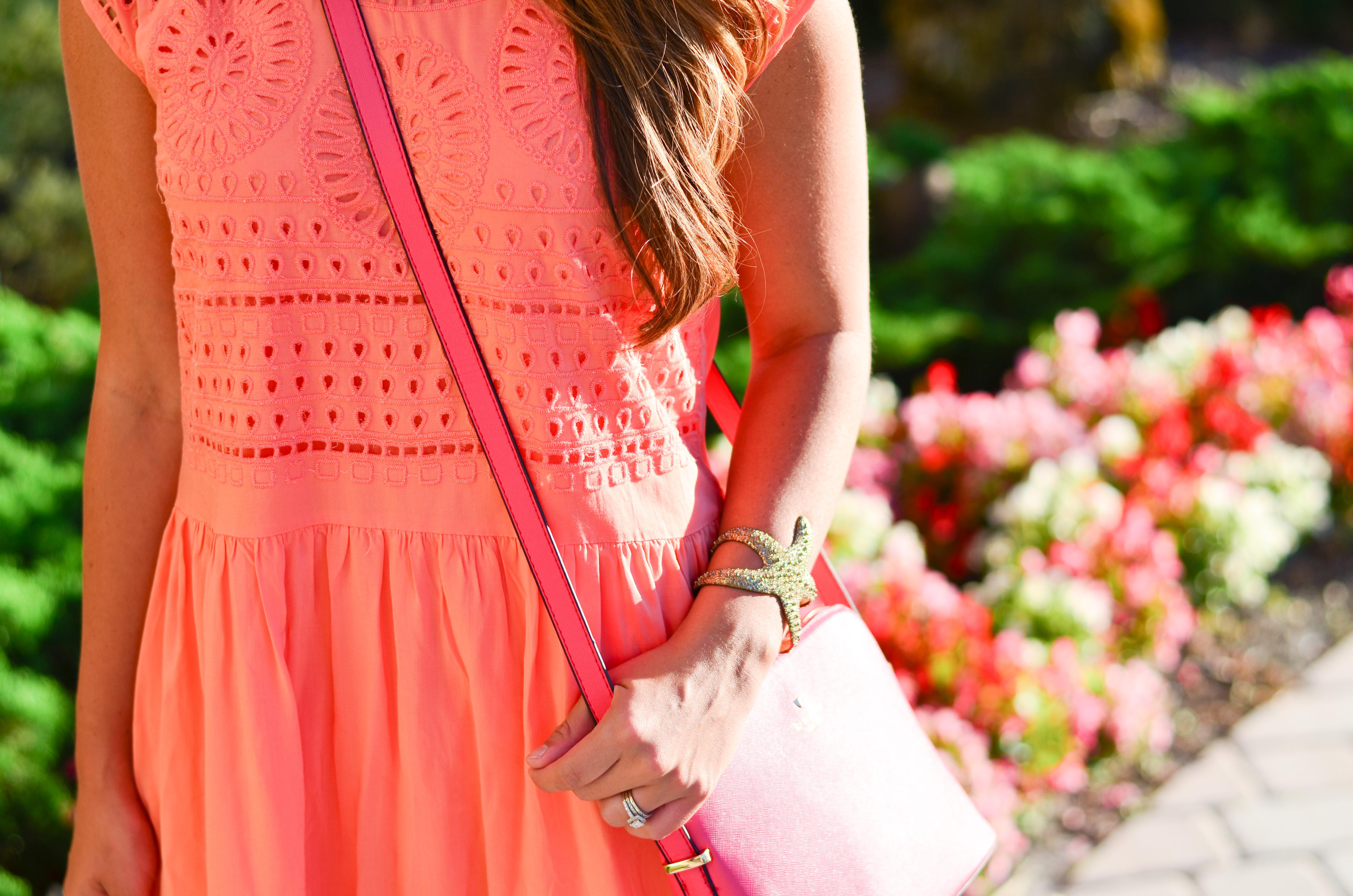 coral crochet dress-25