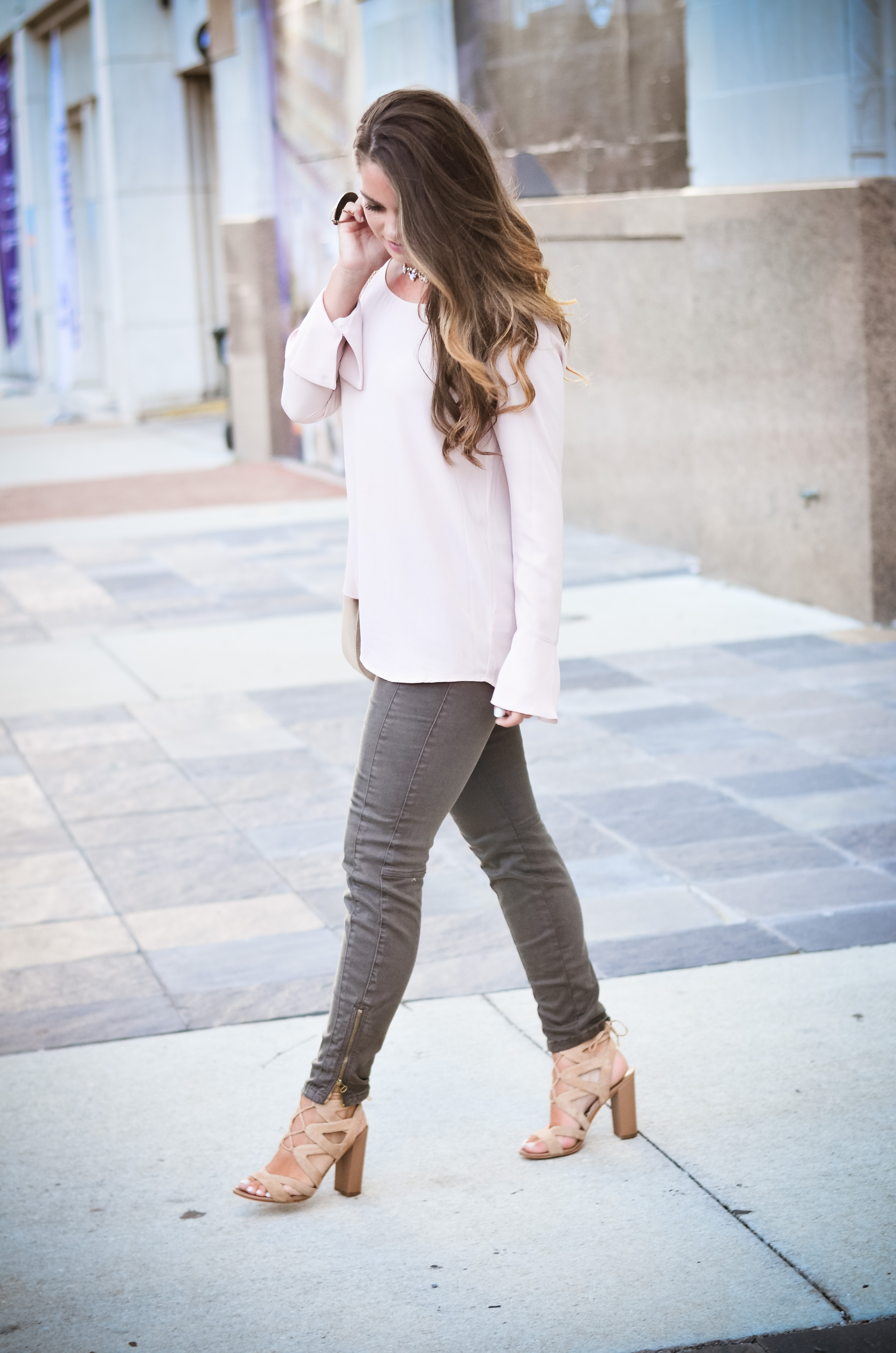 Pink bell sleeve shirt hello alley-14