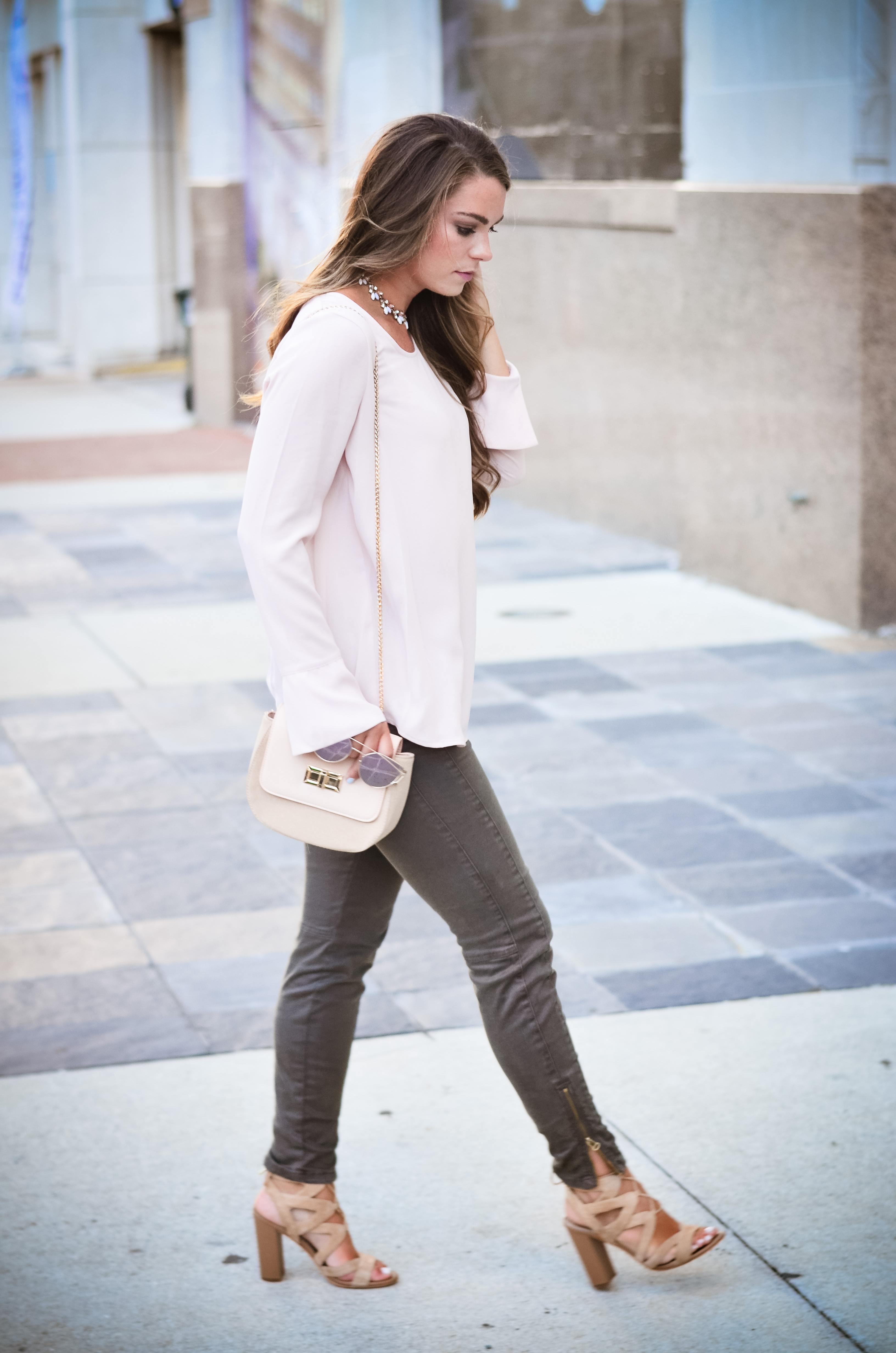 Pink bell sleeve shirt hello alley-19