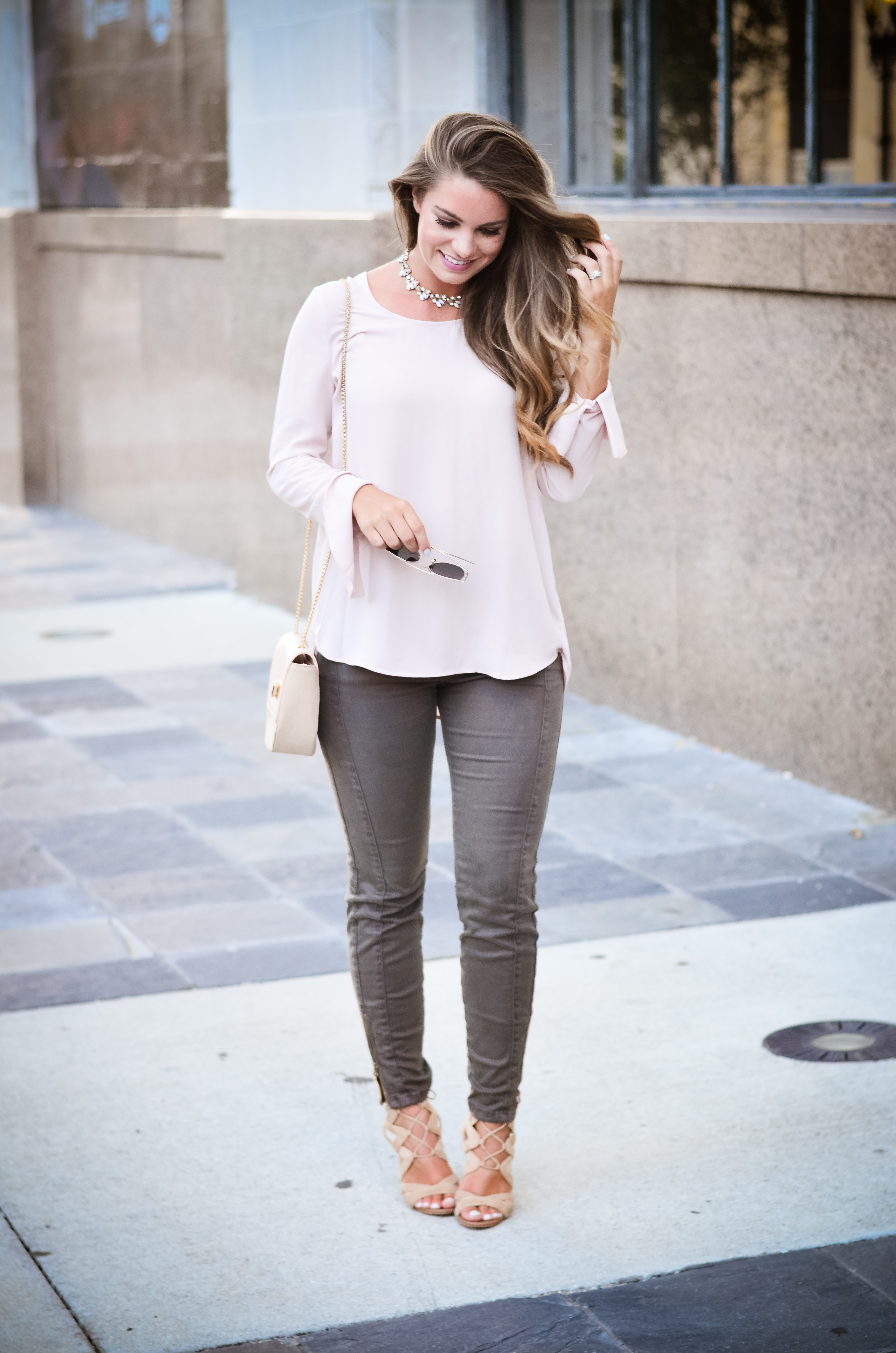 Pink bell sleeve shirt hello alley-24