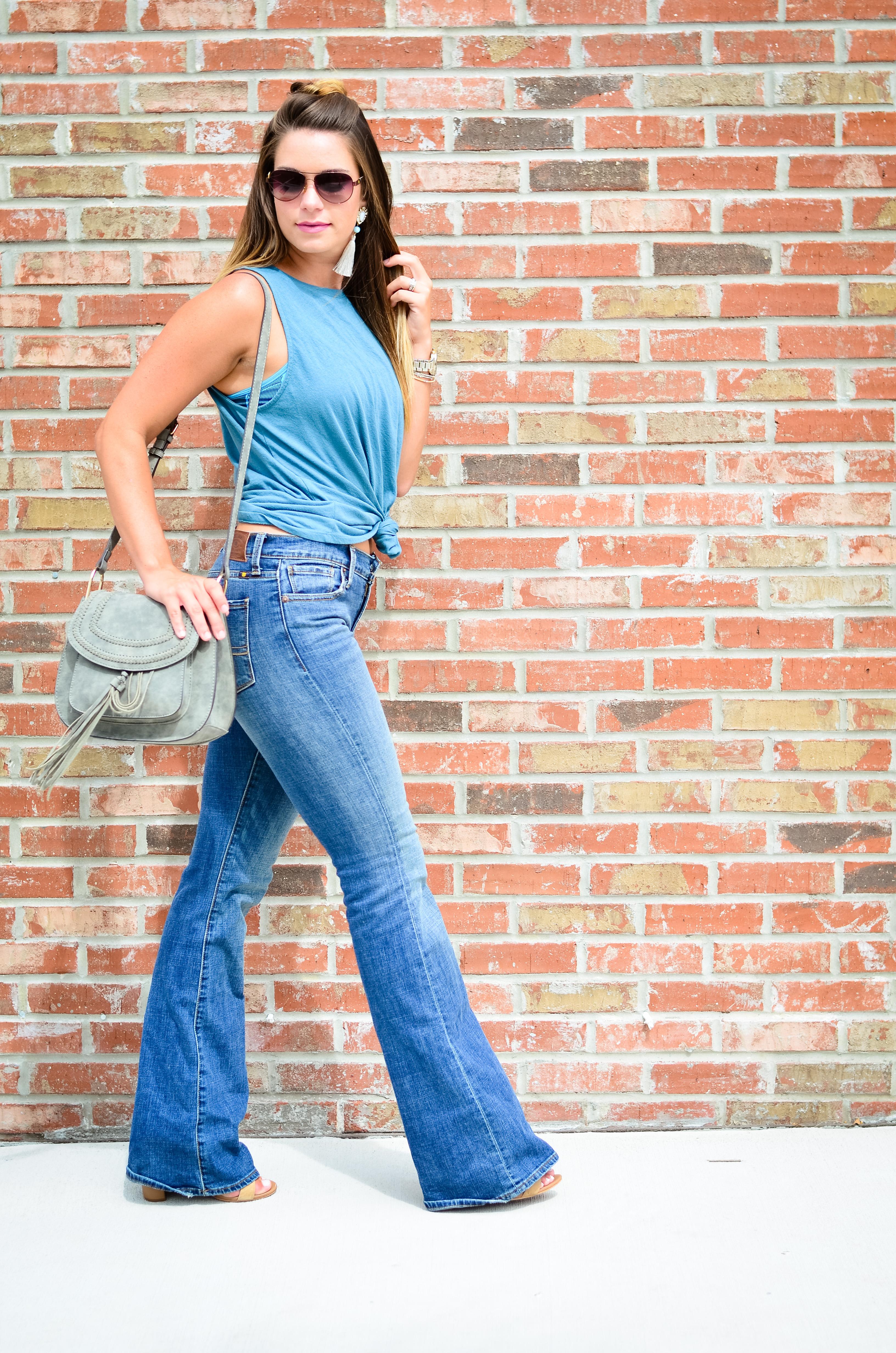 flare jeans blue tank -9