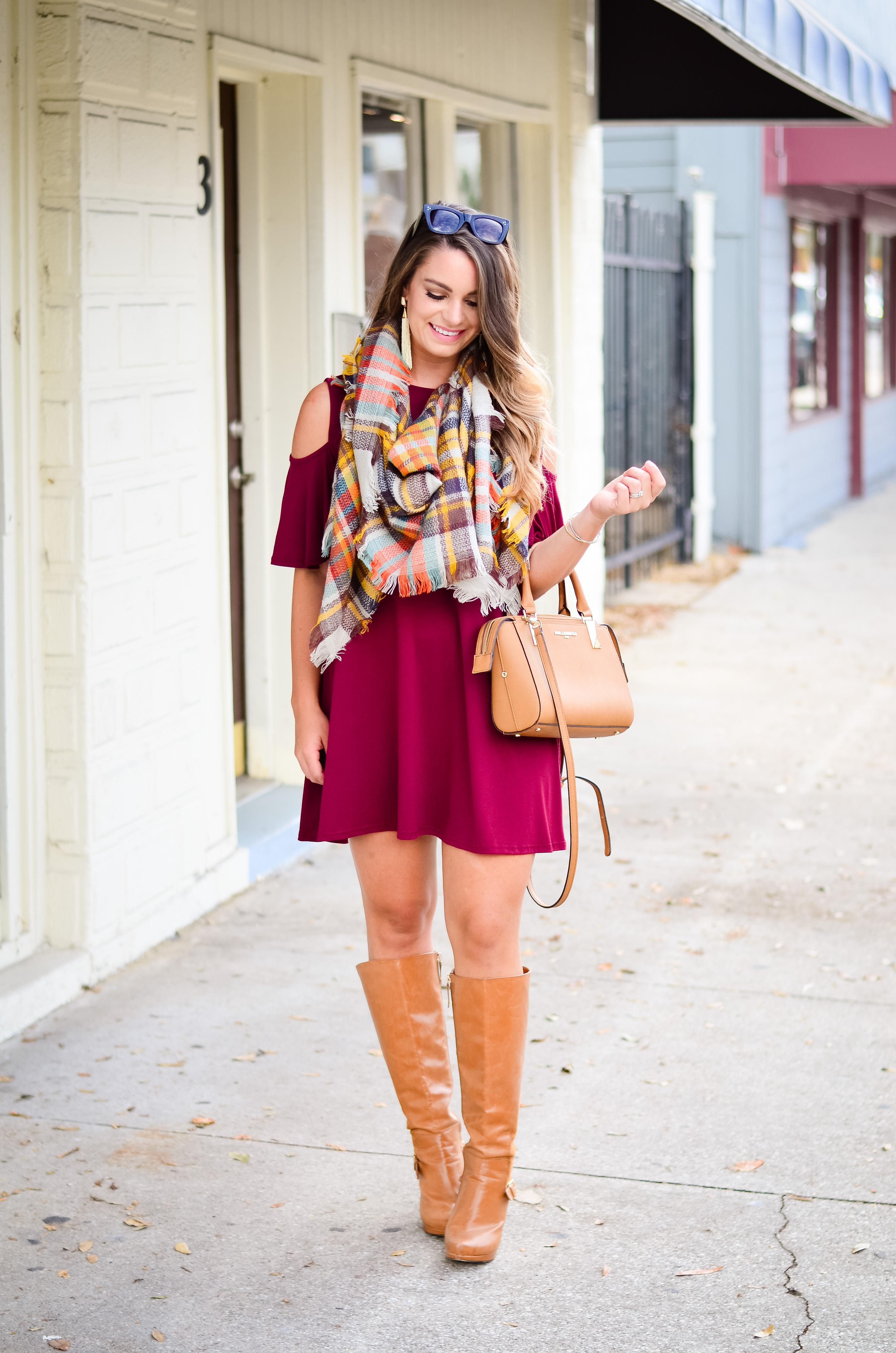 maroon-dress-blanket-scarf-goldfinch-2